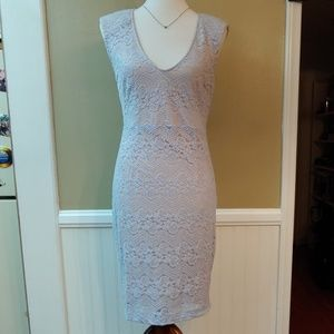FOREVER 21 CAP SLEEVE BLUE LACE FITTED MIDI DRESS